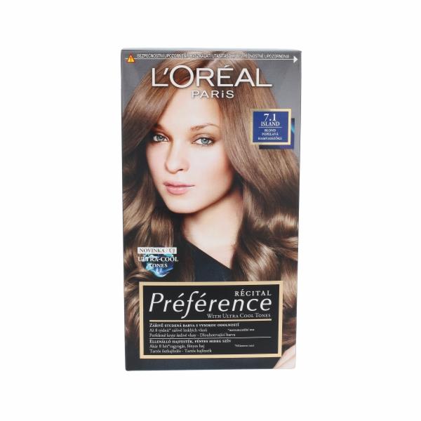 Barva na vlasy L´Oréal Paris Préférence Récital Hair Colour 1ks 7.1 Island