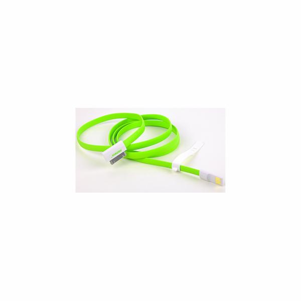 REMAX datový kabel pro iPhone 4/4S, iPad, mini, 1,2m dlouhý, zelený