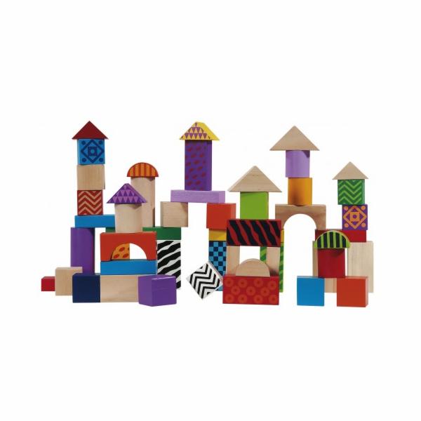 Dřevěná stavebnice Eichhorn Color, 50 kusů