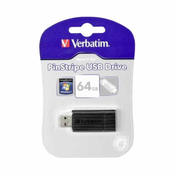 Verbatim Store n Go Pinstripe USB 2.0 / cerna 64GB