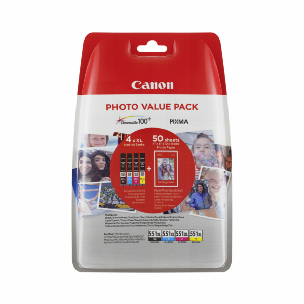 Canon CLI-551XL Photo Value Pack C/M/Y/BK PP-201 10x15 cm 50 Sh.