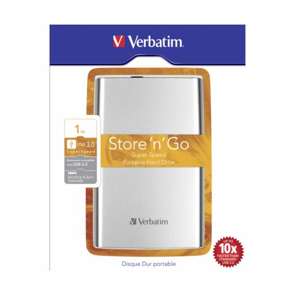 Verbatim Store n Go Portable 1TB USB 3.0 stribrna