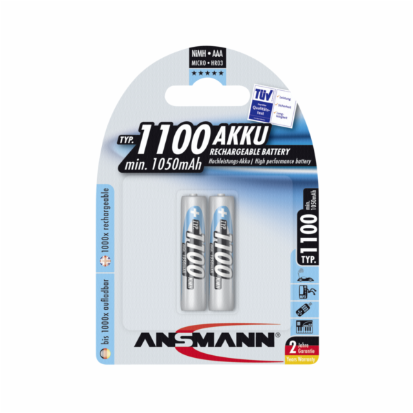 1x2 Ansmann NiMH Aku 1100 Micro AAA 1050 mAh