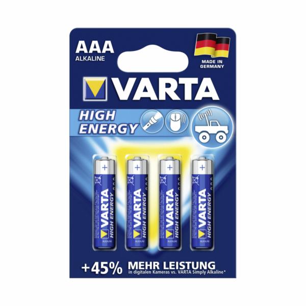 1x4 Varta High Energy Micro AAA LR 03 German