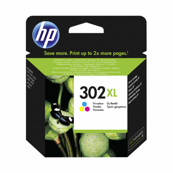 HP F6U67AE Tri-color Original Ink Cartridge No. 302 XL