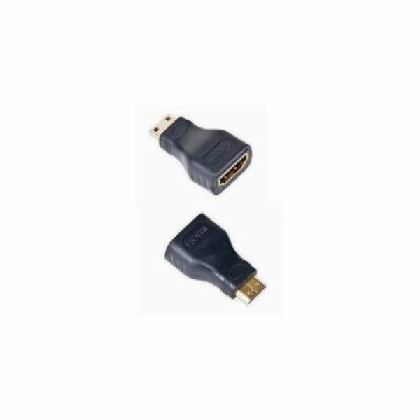 Kab. redukce HDMI-HDMI mini-C F/M,zl. kon.,černá