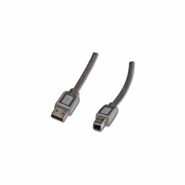 Digitus Premium USB 2.0kabel A/samec na B-samec, 2xstíněný, 5m, černý