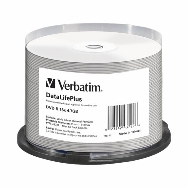1x50 Verbatim DVD-R 4,7GB 16x Speed wide thermal printable