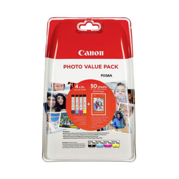 Canon CLI-571XL Photo Value Pack C/M/Y/BK PP-201 10x15 cm 50 Sh.
