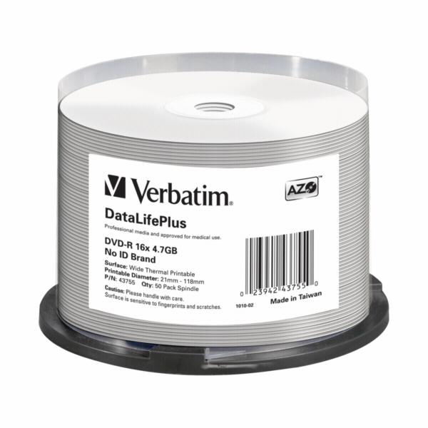 1x50 Verbatim DVD-R 4,7GB 16x white wide printable NON-ID