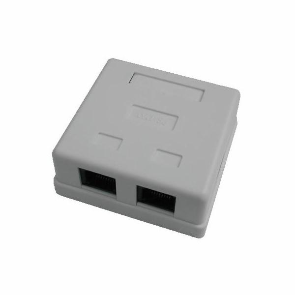DATACOM Datová zásuvka UTP CAT5E 2xRJ45 na omítku bílá