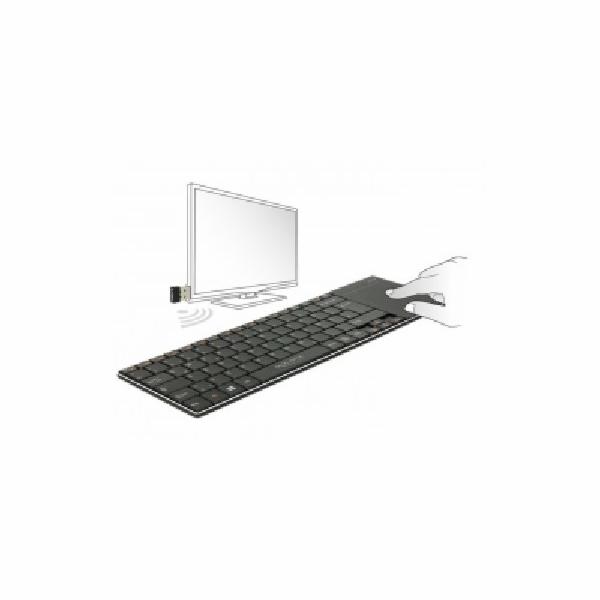 Delock Bezdrátová klávesnice pro Smart TV a Windows PC s Touch Padem 6 mm tenký