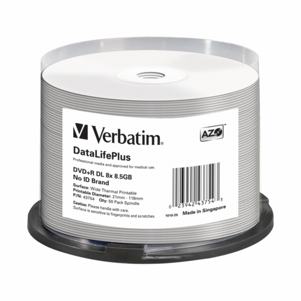 1x50 Verbatim DVD+R Double Layer 8x Speed 8,5GB thermal printable