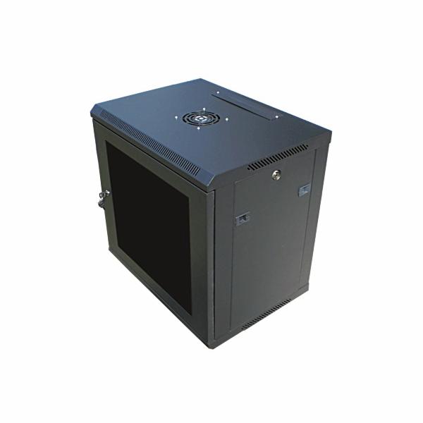 """Datacom 19"""" rozvaděč 6U/450 mm (sklo) černý"""