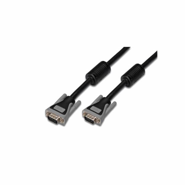 Digitus Premium připojovací VGA kabel, 3xstíněný, 2xferity, šedý, AWG28, Měď, 10m