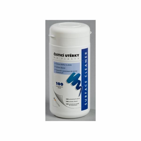 D-clean Navlhčené čisticí utěrky na plasty v dóze 100ks