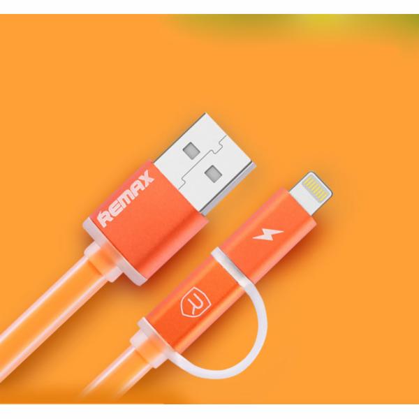 Datový kabel AURORA ,Micro USB / lightning,oranžová