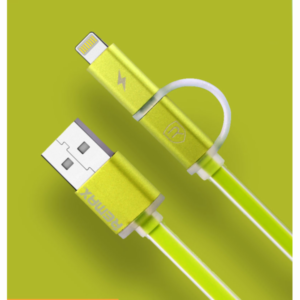 Datový kabel AURORA ,Micro USB / lighting, zelený