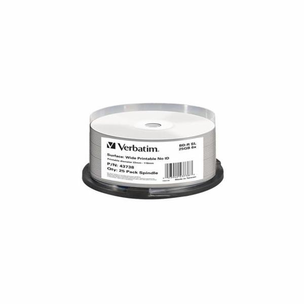VERBATIM BD-R SL 25GB 6x WIDE PRINTABLE spindle 25pck/BAL