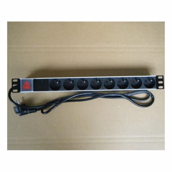 """PremiumCord PDU 19"""" 1U, 8x230V, 2m kabel, vypínač, přepěťová ochrana"""
