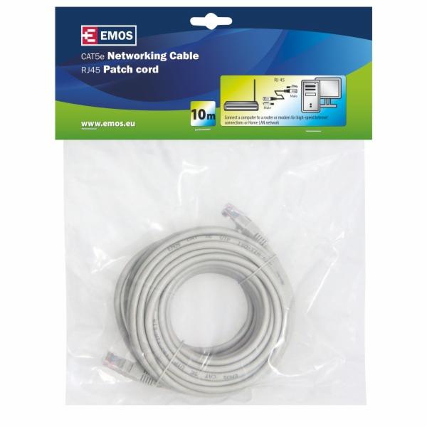 Emos Patch kabel UTP, CAT 5e, AWG26, PVC, šedý, 10m