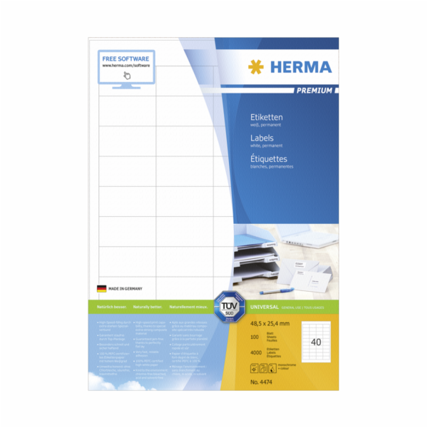 Herma Premium Labels 48,5x25,4 100 Sheets DIN A4 4000 pcs. 4474