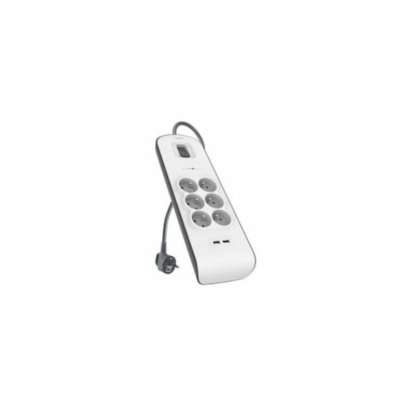 Belkin přepěťová ochrana BSV604 - 6-zásuvka, 2xUSB/2.4A, 2m