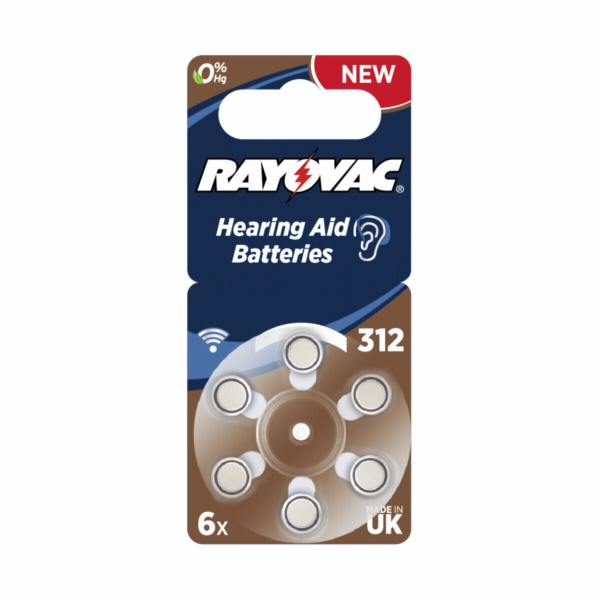 Rayovac Acoustic Special 312 Hearing Aid Batteries 6 pcs