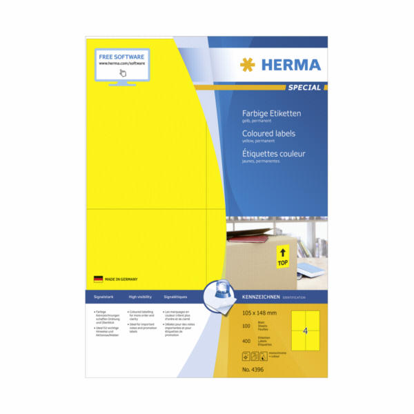 Herma Coloured Label Yellow 4396 600 Sheets 400 pcs. 105X148