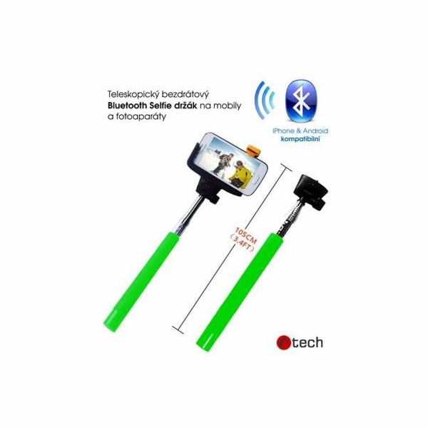 C-TECH teleskopický selfie držák MP107G pro mobil, monopod, Bluetooth dálková spoušť, zelený