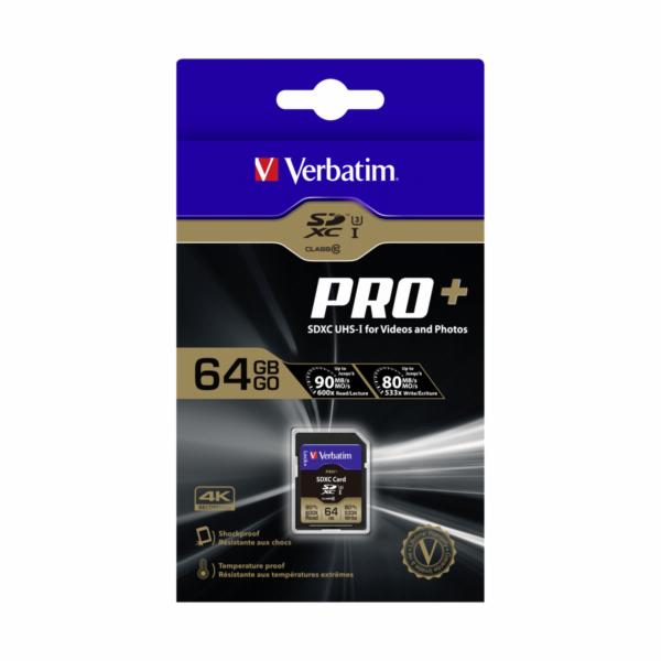 Verbatim SDXC karta Pro+ 64GB Class 10 UHS-I
