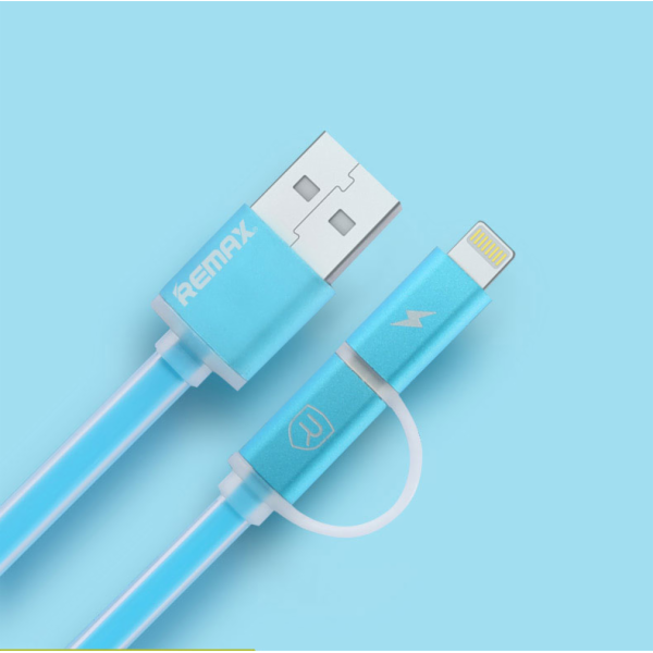 Datový kabel AURORA ,Micro USB / lighting, modrý