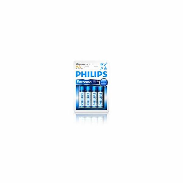 Philips baterie AA ExtremeLife+, alkalická - 4ks