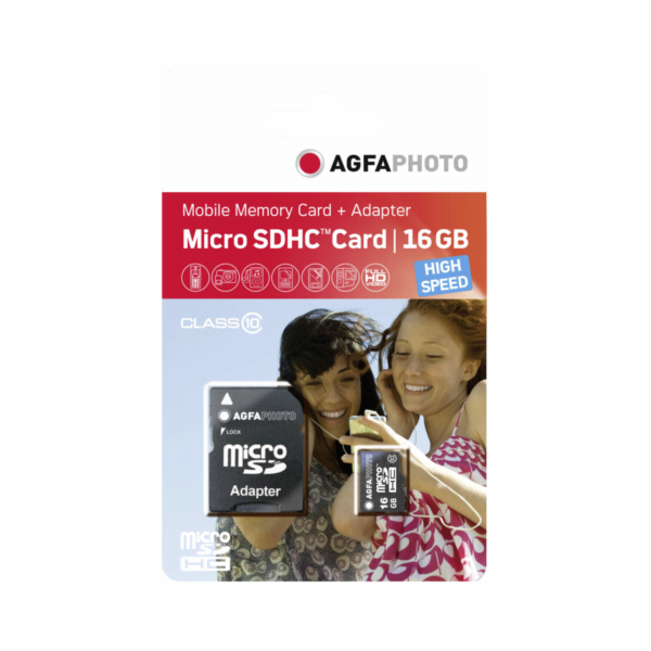 Paměťová karta AgfaPhoto Mobile High Speed 16GB MicroSDHC Class 10 + Adapter