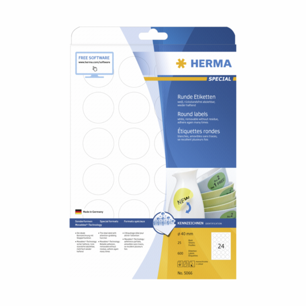 Herma Removable Round Labels 40 25 Sheets DIN A4 600 pcs. 5066