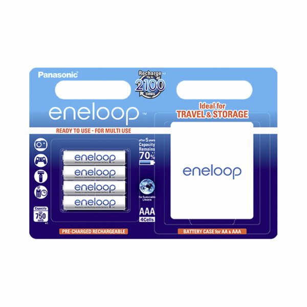 1x4 Panasonic Eneloop Micro AAA 750 mAh + Battery Case