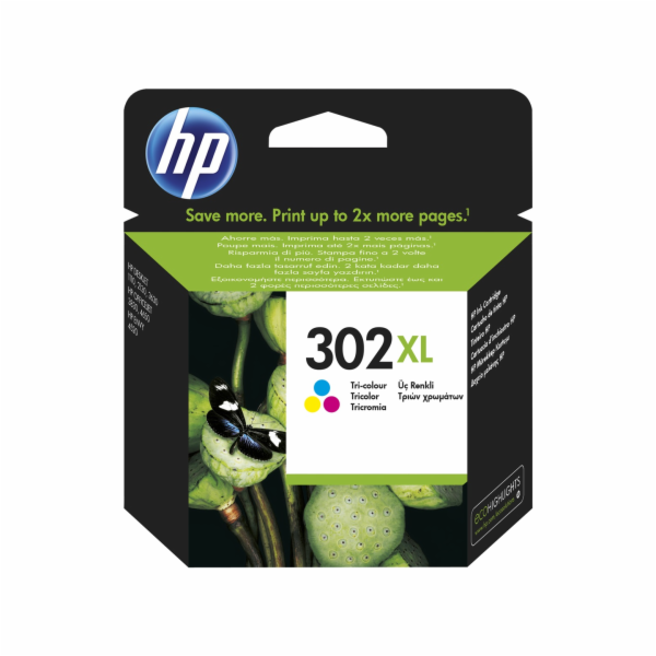 HP 302XL 3barevná kazeta, F6U67AE