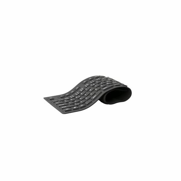 C-TECH FK-01 klávesnice, gelová, flexibilní, černá, USB, CZ/SK