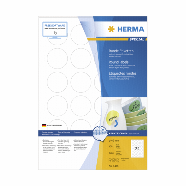 Herma Removable Round Labels 40 100 Sheet DIN A4 2400 pcs. 4476