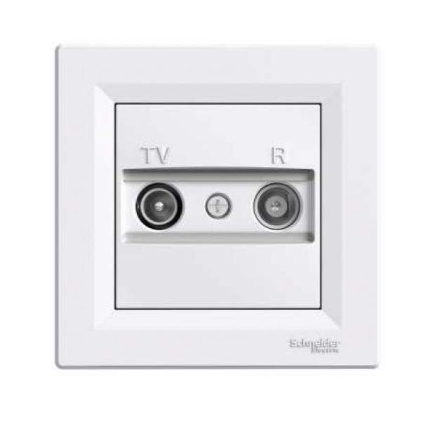 Asfora - zásuvka TV-R, koncová - 1 dB - bílá
