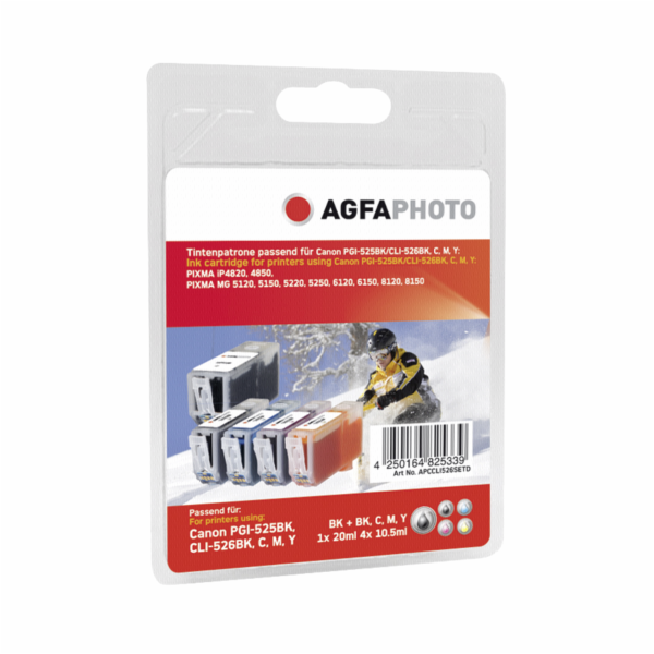 AgfaPhoto PGI-525 BK CLI-526 B/C/M/Y Bonus Pack