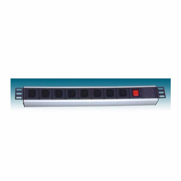 """PremiumCord 19"""" PDU, 1U, 9xIEC (C13), 2m kabel Euro,vypínač"""