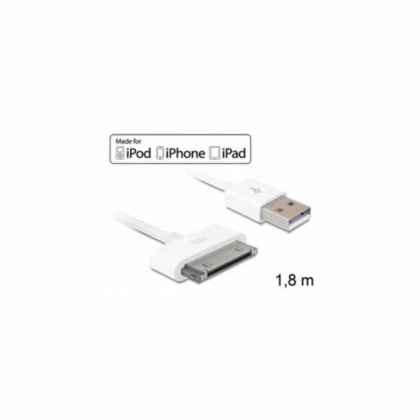Delock USB napájecí a datový kabel iPod, iPhone, iPad, bílý, 1,8m