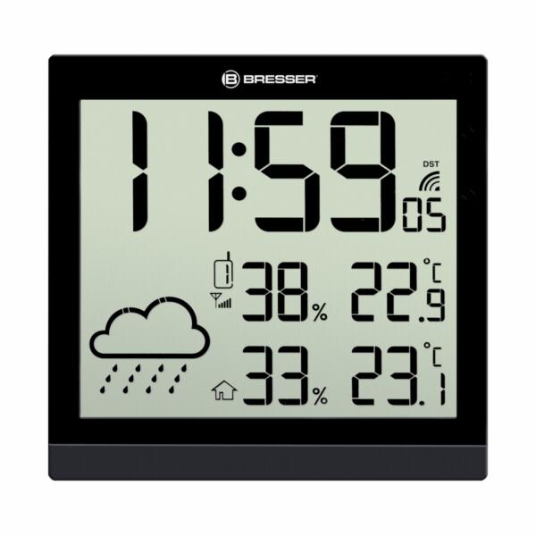 Bresser TemeoTrend JC cerna LCD nastenne hodiny/meteostanice