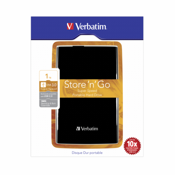 Verbatim Store n Go Portable 1TB USB 3.0 cerna