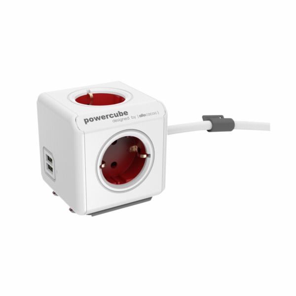 allocacoc PowerCube Extended USB vc. 1,5 m kabel cervena typ F