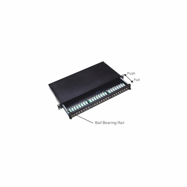 """DATACOM Patch panel Cat5e 24p.1U,STP,19"""" výsuvný"""