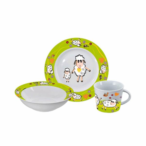 talíř+miska+hrnek dětský porcelán OVEČKA