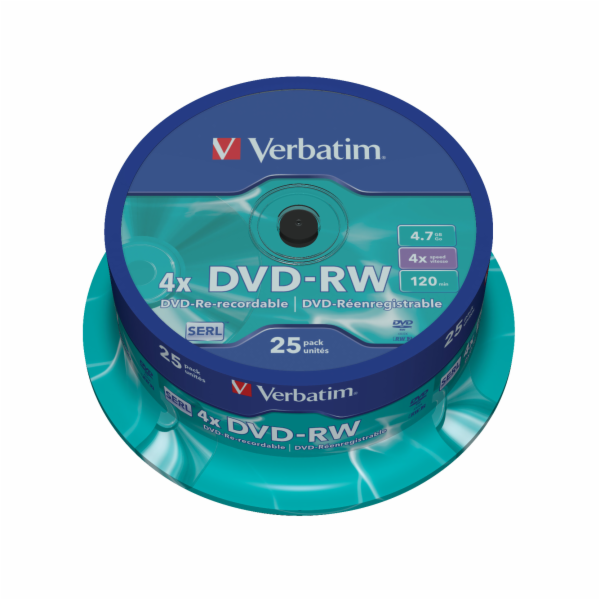 VERBATIM DVD-RW 4,7GB 4x spindle 25pck/BAL
