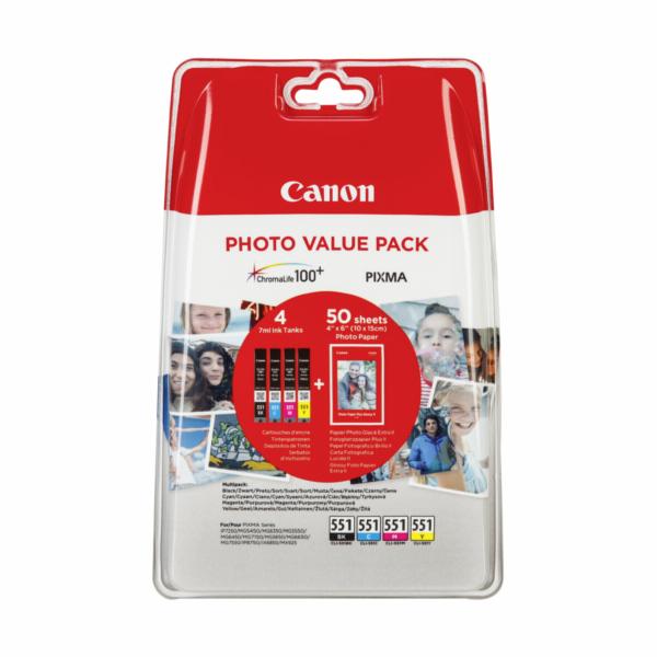 Canon CLI-551 Photo Value Pack C/M/Y/BK PP-201 10x15 cm 50 Sh.